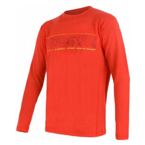Pánské tričko SENSOR Merino Active PT GPS dl. rukáv červená