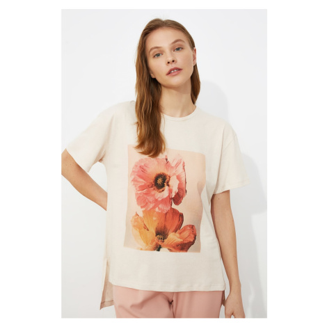 Trendyol Stone Asymmetric Printed Knitted T-Shirt