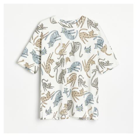 Reserved - Bavlněné tričko OVERSIZED - Bílá