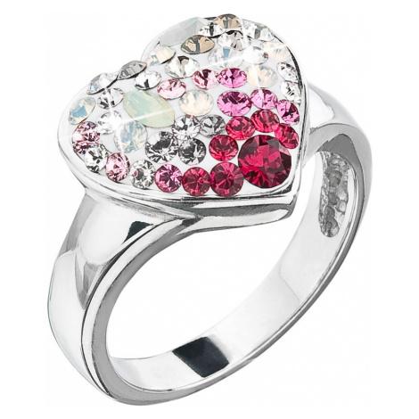 Evolution Group Stříbrný prsten s krystaly Swarovski sweet love srdce 35044.3