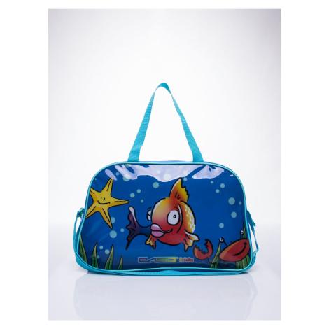 Modrá školní taška s potiskem ryb FPrice