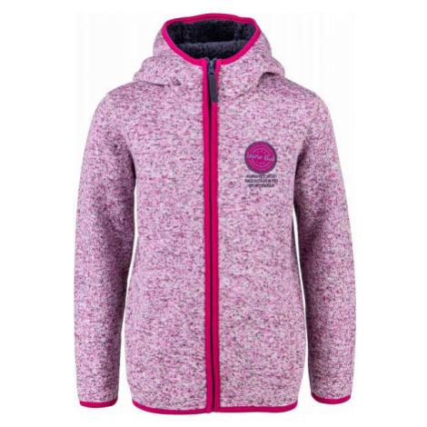 Lewro SOLON růžová - Dětská fleecová mikina svetrového vzhledu