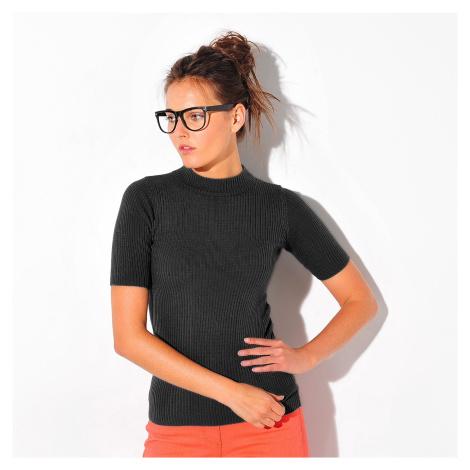 Blancheporte Žebrovaný pulovr s krátkými rukávy černá
