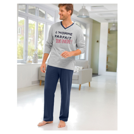 "Blancheporte Pyžamo s výstřihem do ""V"" a dlouhými rukávy, kalhoty šedý melír/nám.modrá"