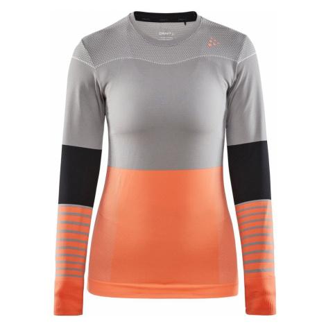 Tričko Craft Fuseknit Comfort Blocked L W - šedá/oranžová