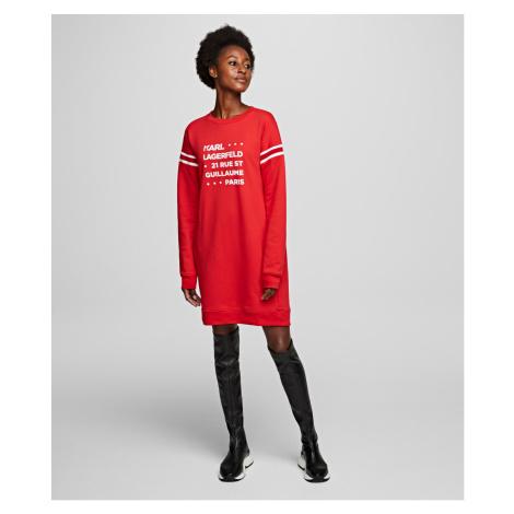 Mikina Karl Lagerfeld Stackd Logo Address Sweatdress - Červená