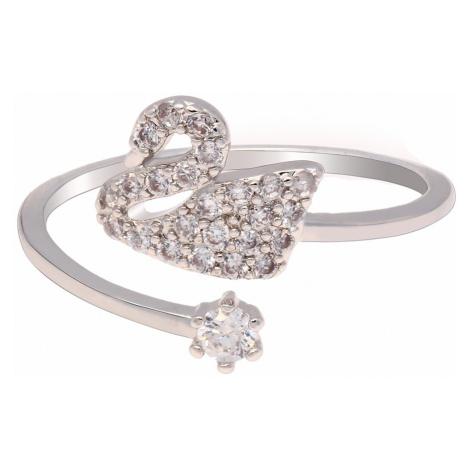 Anna Grace prstýnek Silver Crystal Swan 76 - 18 mm