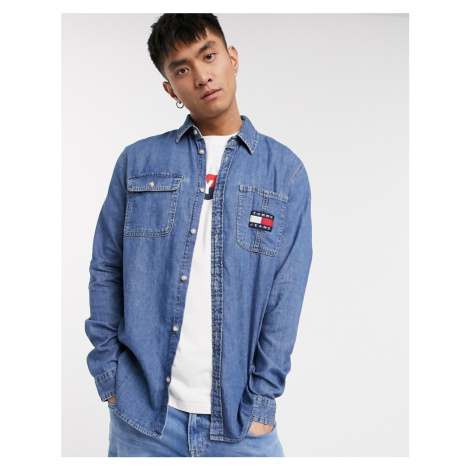 Tommy Hilfiger Tommy Jeans pánská modrá denim košile Tjm Denim Badge