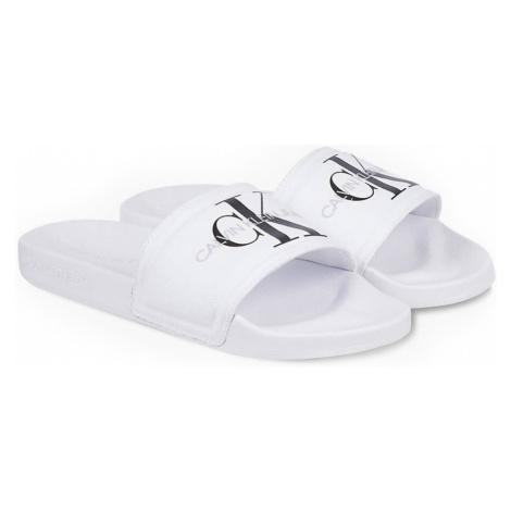 Calvin Klein bílé pantofle Slide Monogram