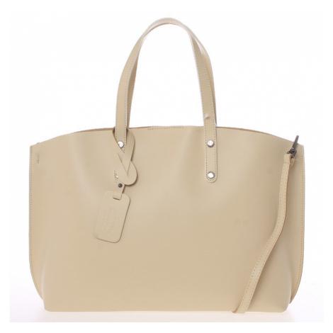 Béžová kožená kabelka do ruky ItalY Jordana