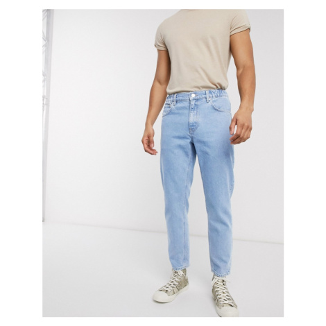 ASOS DESIGN classic rigid in light stone with elasticated waist-Blue