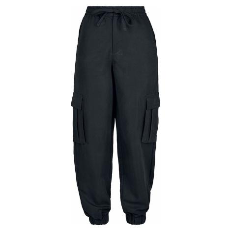 Urban Classics Dámské keprové kapsáče z viskózy Cargo kalhoty černá