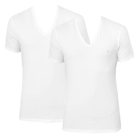 2PACK pánské tričko CK ONE V neck bílé (NB2408A-100) Calvin Klein