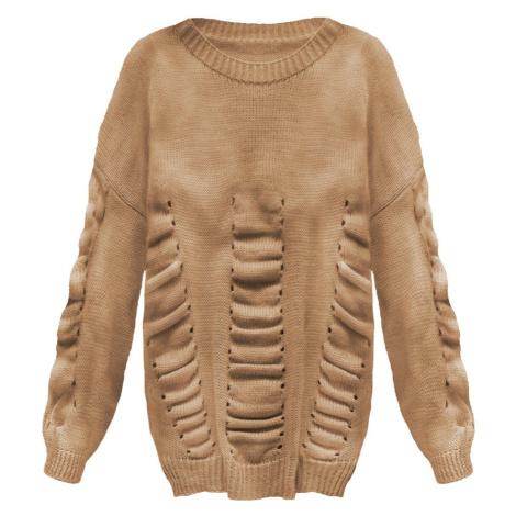 Karamelový dámský svetr s nabíráním (182ART) Made in Italy