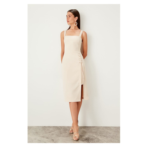 Trendyol Cream Birdeye Detailed Dress