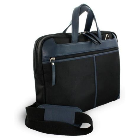 Černo-modrá kožená business taška na notebook Damian Arwel