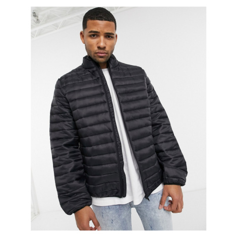 ASOS DESIGN light weight puffer jacket with stand collar in black