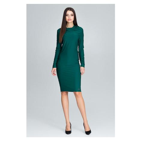 Elegantní modré šaty zelené pouzdrové s dlouhým rukávem