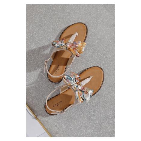 Béžové nízké sandály s mašlí Elizabeth Erynn