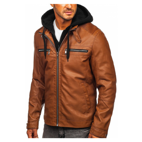 Kamelová pánská koženková bunda s kapucí Bolf 1171
