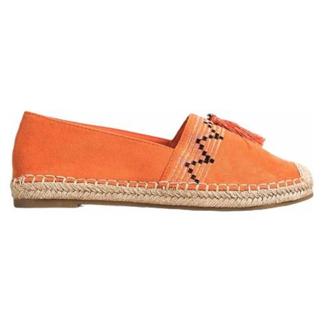 Oranžové módní espadrilky s ozdobami BASIC