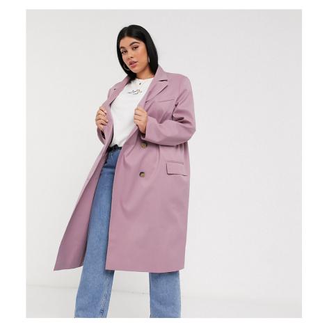 ASOS DESIGN Curve classic crepe coat in mauve-Pink