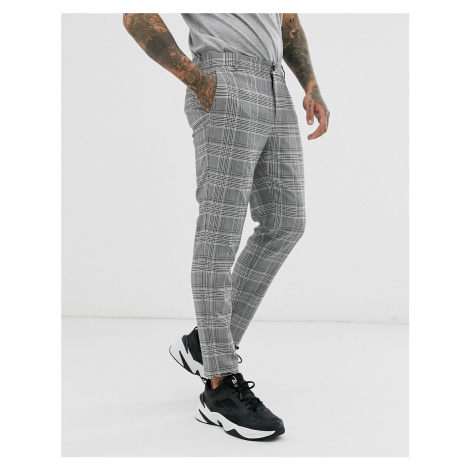 Bershka skinny trousers in grey check
