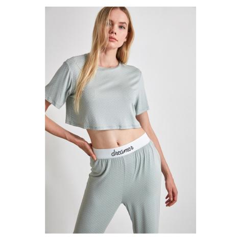 Trendyol Mint Rubber Detailed Knitted Pyjama Set