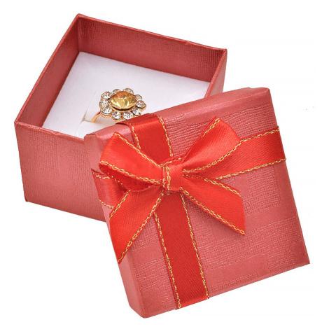 JKBOX Červená papírová krabička s mašlí se zlatým okrajem na prsten nebo náušnice IK012
