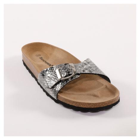 Blancheporte Žabkové sandály se sponou a hadím vzorem šedá