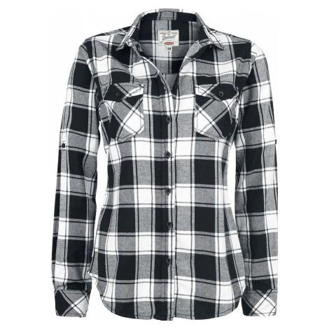 Brandit Flanelová kostkovaná košile Amy dívcí halenka cerná/bílá