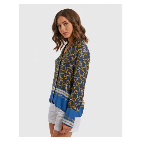 Košile La Martina Woman Chians Print Shirt - Modrá