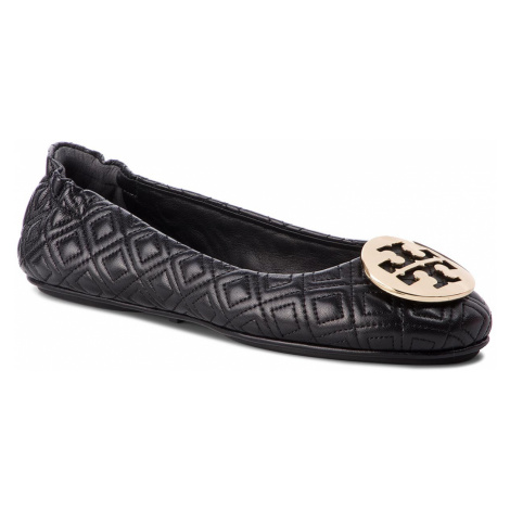 Baleríny TORY BURCH - Quilted Minnie 50736 Perfect Black/Gold 002