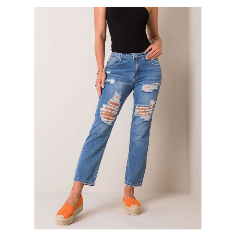 Blue mom fit jeans with holes Fashionhunters