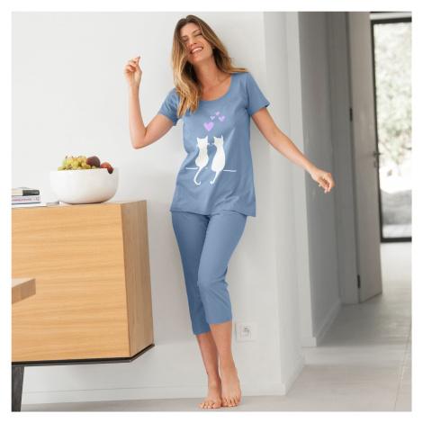 Blancheporte Pyžamo se 3/4 kalhotami a potiskem koček modrá