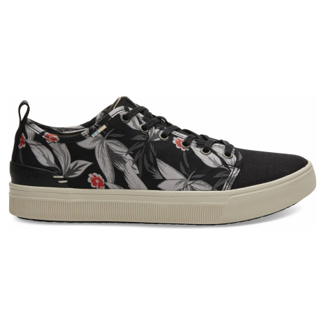 Black Floral Print Men TRVL Lite Low Sneak Toms