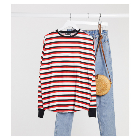 ASOS DESIGN Maternity long sleeve striped t-shirt with cuff in white