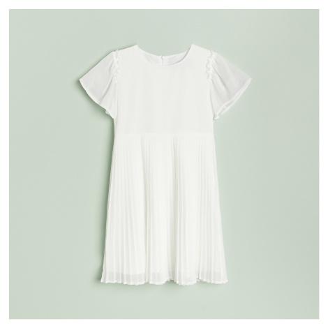 Reserved - Šaty s plisovanou sukní - Krémová