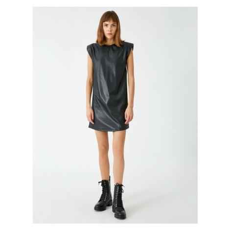 Koton Women's Black Bike Collar Artificial Leather Dress