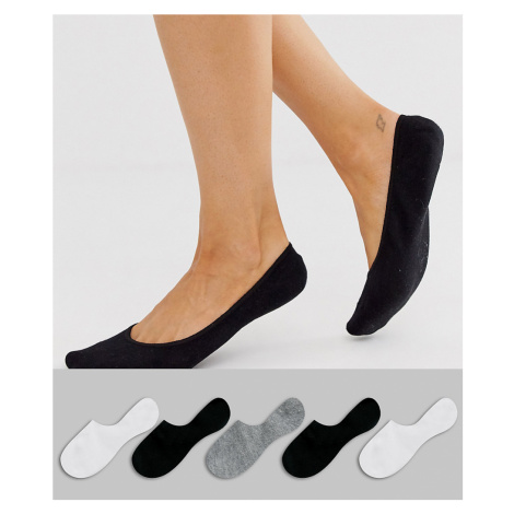ASOS DESIGN 5 pack invisible socks with back grip band detail in black white and grey-Multi