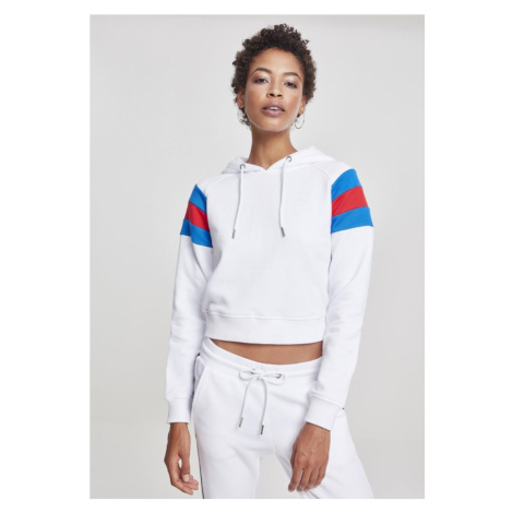 Ladies Sleeve Stripe Hoody - white/brightblue/firered Urban Classics