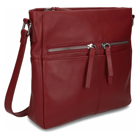 Červená dámská kožená kabelka Baťa