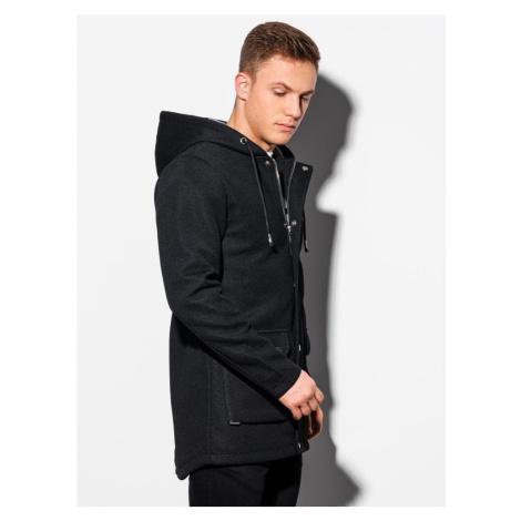 Ombre Clothing Nádherný kabát v černé barvě C454