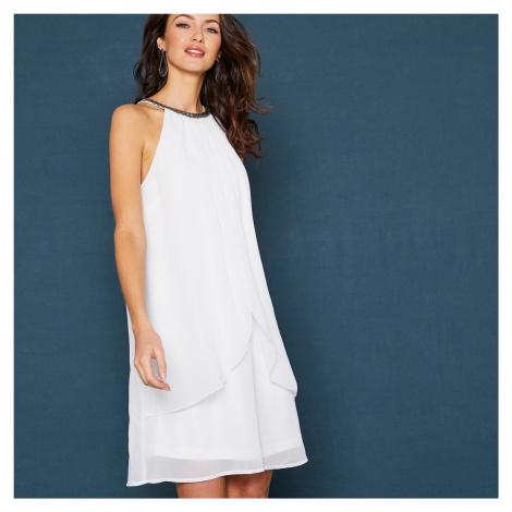 Blancheporte Krátké nařasené šaty, bez rukávů bílá