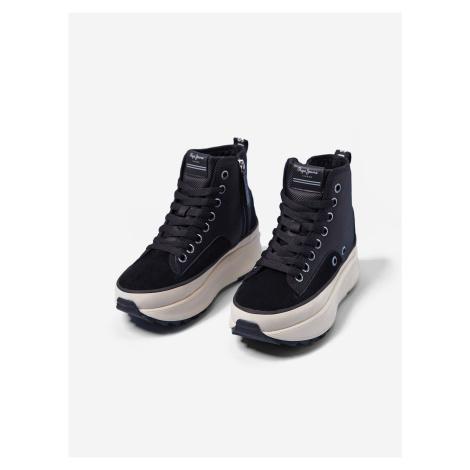 Černé kotníkové boty na platformě Pepe Jeans Woking