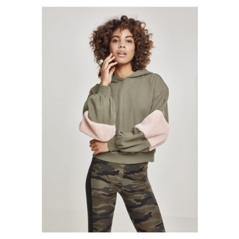 Ladies Ballon Sleeve Teddy Hoody - olive/rose Urban Classics