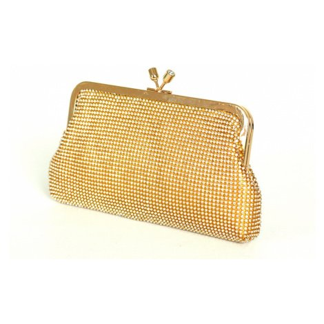 Kamínková společenská kabelka s řetízkem a rámečkem látková zlatá, 24 x 4 x 14 (IT15-H052-22STR)