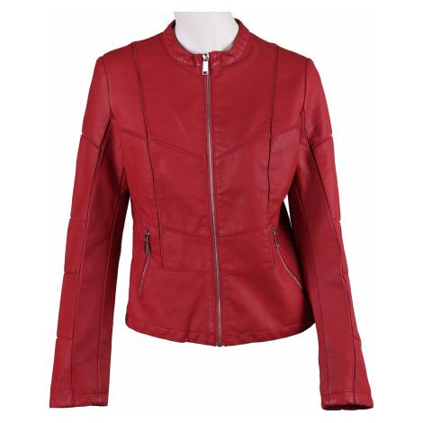 Červená dámská bunda s prošitím