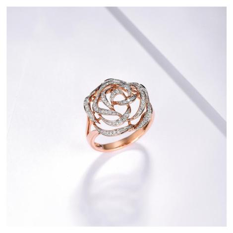 Masivní prsten ve tvaru růže zlato 14K 5851000 růžové