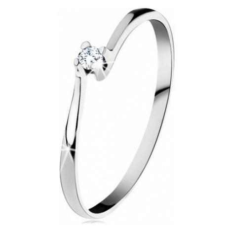 Prsten z bílého 14K zlata - třpytivý čirý diamant v lesklém kotlíku Šperky eshop